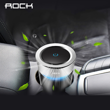 ROCK Car Charger Cup Air Purifier Freshener Aluminium Alloy Air Cleaner Car-charger Smell For iPhone Xiaomi Phone Colorful Light