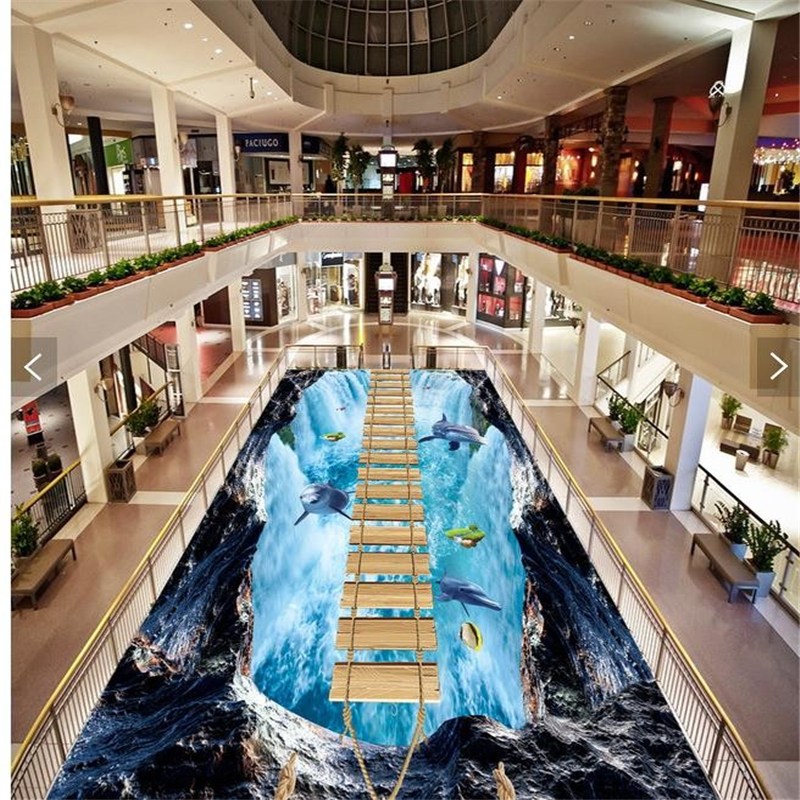 Custom Photo self-adhesive 3D floor Waterproof Waterfall dolphin 3d floor painting Floor wallpaper 3d for bathrooms Home Decorat<br><br>Aliexpress