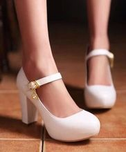 2015 spring platform hasp women's thick heel shoes plus size 42 43 sweet high-heeled single shoes wedding shoes 6 color