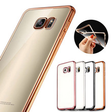 For samsung galaxy S7 S7 Edge Ultra Slim Luxury Electroplating Crystal Soft Silicon Clear TPU Case Transparent Back Cover Cheap(China)