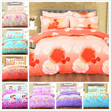 Flower FLoral Boy Girl Child Big Bed Linens 4pcs Bedding Set King Queen Double Size Duvet Cover 1.8m 2m 2.3m Bedsheet Bedclothes(China)