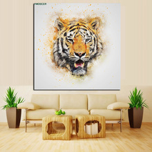 YWDECOR Large Size Print Abstract Tiger Head Oil Painting on Canvas Painting Modern Art Animal Picture Poster For Living Room