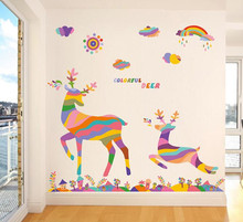 Cartoon Christmas DIY Home Decor Colorful Deer Wall Sticker Static Removable Wallpaper Vinyl Window Glass Decorative Wall Decals