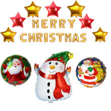 Merry Christmas Letters Foil Balloons 24pcs/set Inflatable Christmas Tree Snowman Globos Xmas Decorations Party Supplies Ballon