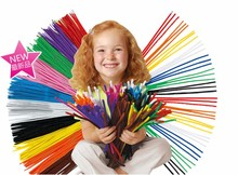100pcs Bendaroos Montessori Chenille Sticks For Craft Children Kid Pipe Cleaner Stems Craft Creative fun Games Cocktail Bar(China)