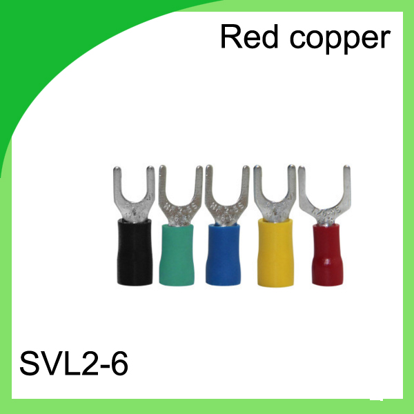 CHINA manufacturer red copper 1000 PCS SVL2-6 Cold Pressed Terminal Connector Suitable for 22AWG - 16AWG  Cable lug<br>