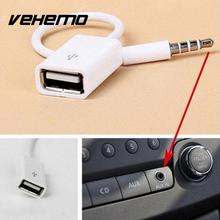 New Fashion White 3.5mm Male AUX Cable Audio Plug Jack To USB 2.0 Female Converter Cord Adapter Cable For Car MP3 For Phone Cavo