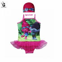 Girls Clothing Sets Trolls Poppy Girls Swimsuit Set Mermaid Ariel Swimmable Bikini Bodysuit Children Beach Sport Costumes Kids