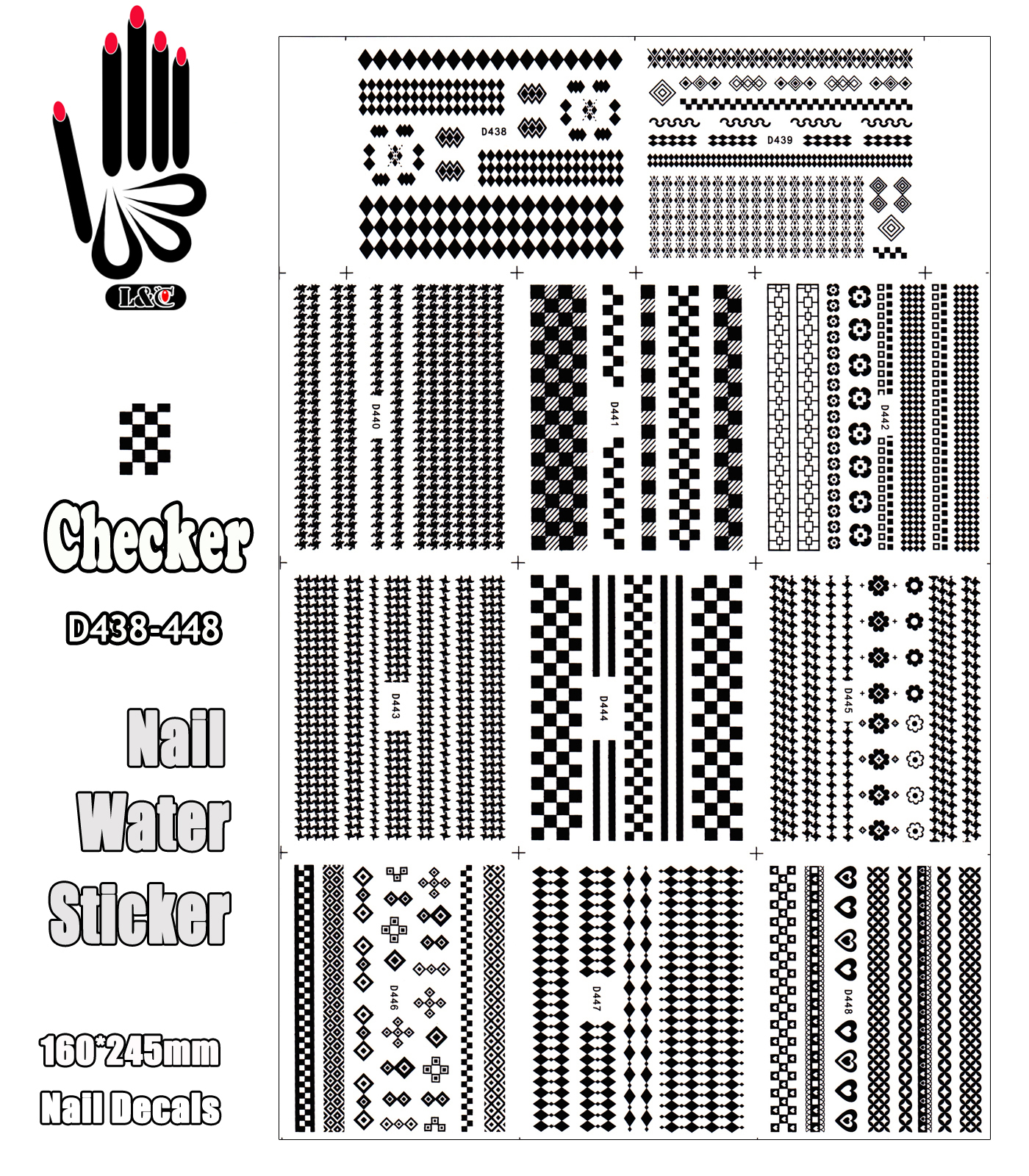 11 Sheets/Lot Art Sticker D438-448 Classics Look Black Checker Nail Art Sticker Water Decal for Nail Decoration(11 DESIGNS IN 1)(China (Mainland))