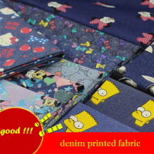 140x50cm 1pc Denim 100% Cotton Fabric Hello Kitty Mickey Minnie Simpsn Printed Denim Fabric Sewing Diy Children's Clothing Jeans