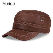 Aorice men real leather army cap hat 2017 new style baseball caps military hunting hats with ear Flap HL019