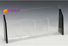 4 pocket modern clear acrylic brochure display holder for 1/3 A4 size paper or brochure TRS4(China)