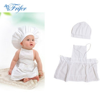 Cute Baby Chef Apron&Hat For Kids Costumes Cotton Blended Chef Baby White Cook Costume Photos Photography Prop Newborn Hat Apon(China)