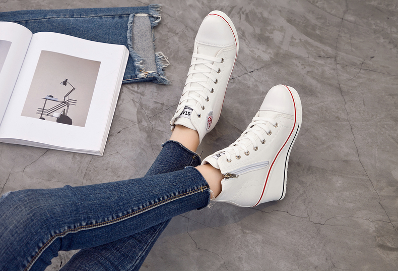 Women's Shoes Hidden Wedge Heel Shoes 18 Women Casual Shoes Canvas Sneakers High Top Breathable Platform Chaussure Femme 29