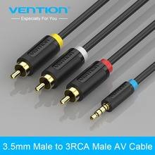 Vention 3.5mm Jack To 3 RCA Male Standard Audio Converter Video AV Speaker Cable For iPod Android TV Box CD DVD Player 1.5m 2m(China)