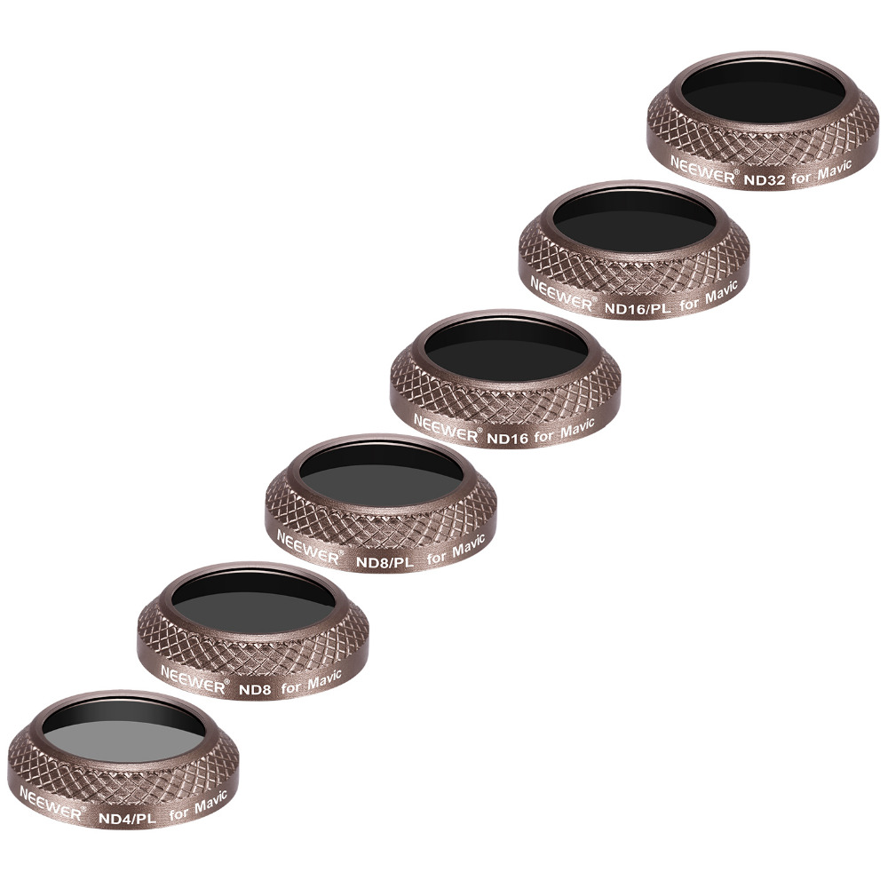 Neewer 6 Pieces Filter Kit for DJI Mavic Pro Drone Quadcopter Includes:ND4/PL, ND8/PL, ND16/PL, ND32, ND8, ND16 and ND32 Filter