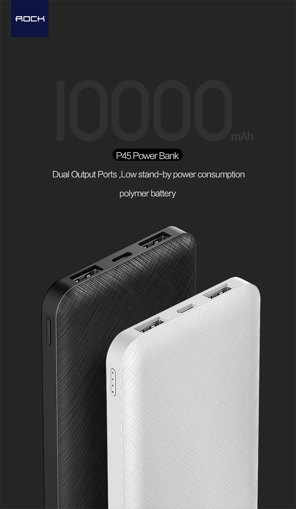 ROCK Slim 10000 mAh Power Bank,Portable Ultra-thin Polymer Powerbank battery power-bank 10000mah With LED Light for Mobile Phone 10