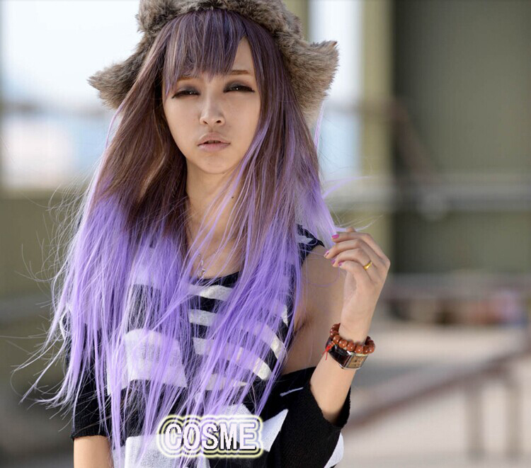 Harajuku gradient purple grey long straight hair wig cos female free shipping<br><br>Aliexpress