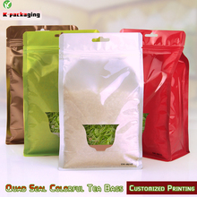 5 pcs 15x25cm Stand up Ziplock Square Bottom Snack Bags Aluminum Foil Zip Lock Bag Pet Food Packaging with Clear Window