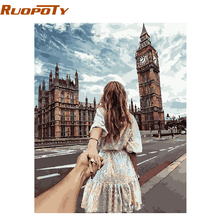 RUOPOTY DIY Painting By Numbers Romantic Big Ben Modern Wall Art Picture Hand Painted Oil Painting For Living Room With Box Gift