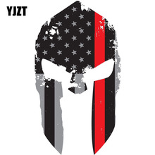 YJZT 8.4CMX15CM Thin Red Line Tattered Spartan Helmet Personalized Reflective Car Stickers Styling C1-6027