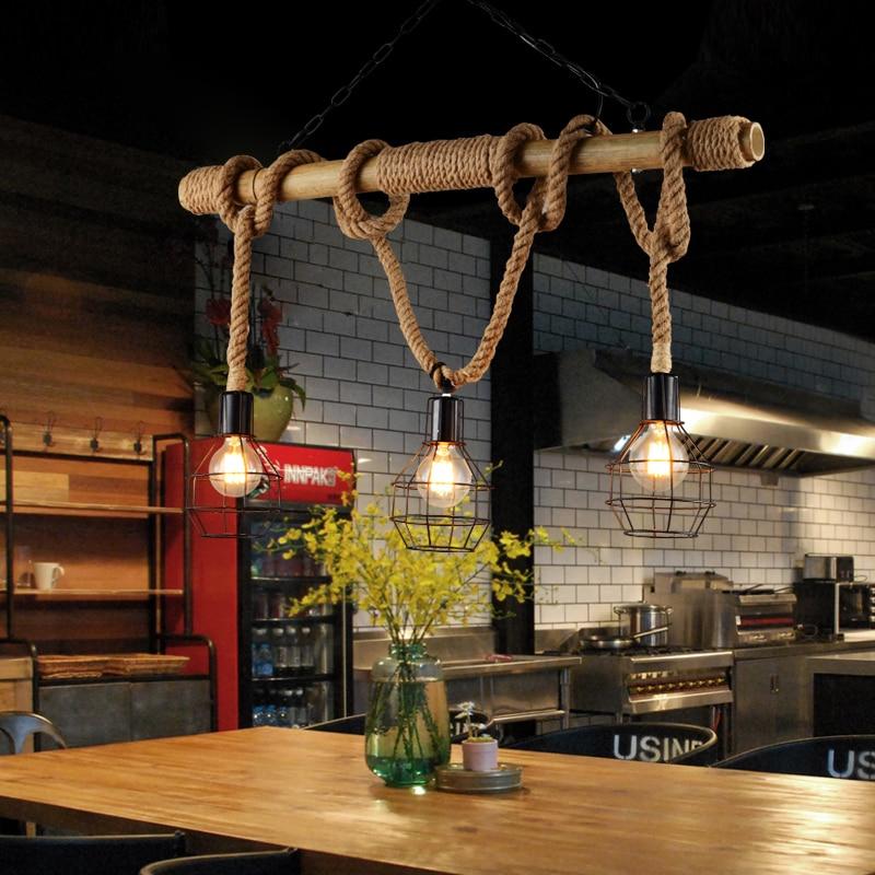 american rural retro creative personality restaurant cafe bar 3 heads bamboo hemp rope chandelier