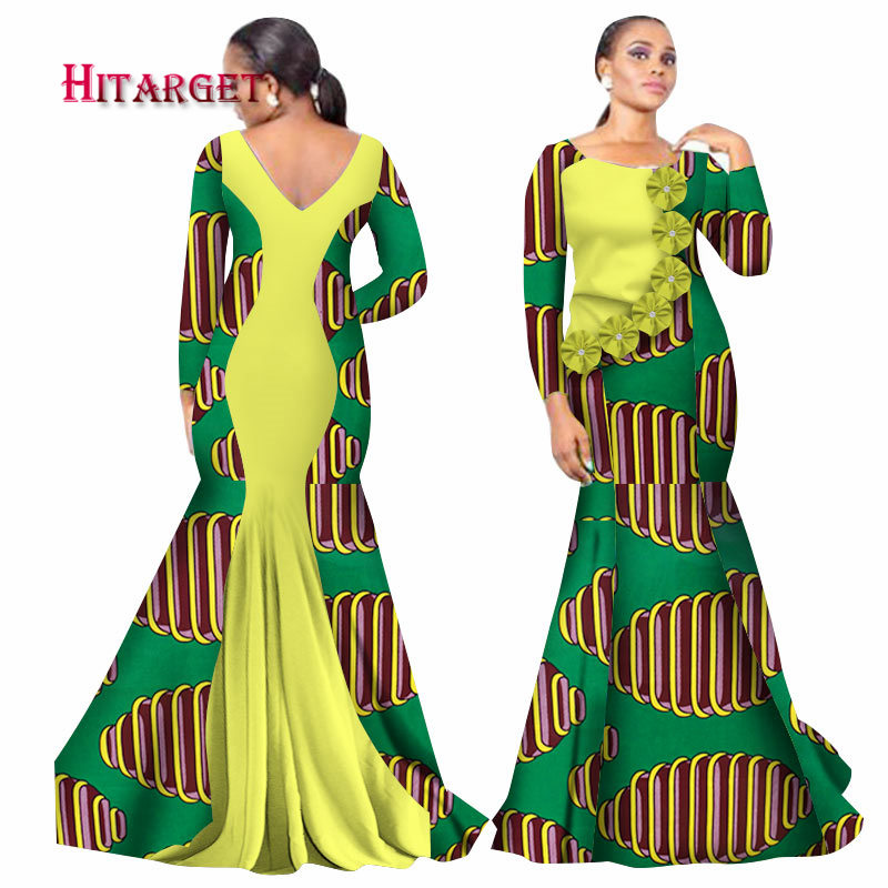 Hitarget 2019 Bazin Riche African Dresses for Woman Print Splice O Neck Mermaid Backless Dresses Dashiki African Clothes WY2105