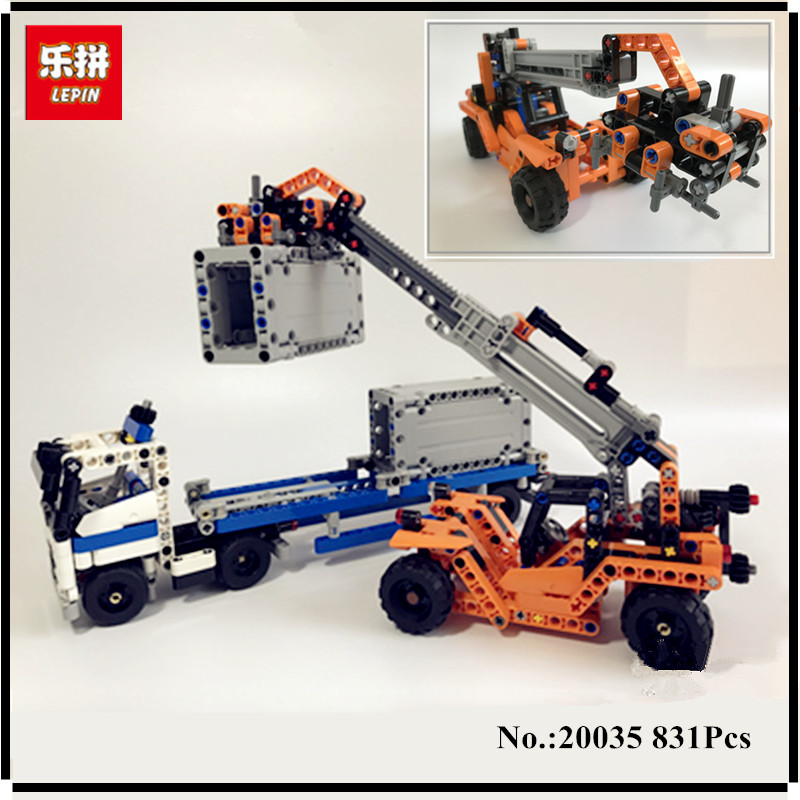 IN STOCK Lepin 20035 631Pcs Technic Series The Container Trucks and Loaders Set Building Blocks Bricks Educational Toy with42062<br>