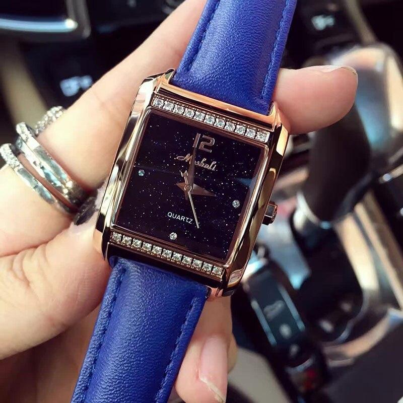 New Fashion Elegant Women Square Wrist Watches Leather Watchband Diamond Female Quartz Clock Ladies Wristwatch Montres Femmes<br>