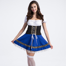 New Blue Oktoberfest Party Cosplay Beer Halloween Costumes For Women Sexy Maid Costume Plus Size Fancy Dress Fantasias Femininas(China)