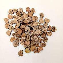 100 Pcs/ Pack Rustic Wooden Love Heart Table Scatter Wedding Party Decor Scrap Booking Crafts Supplies FP8