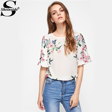 Buy Sheinside Floral Print Women Trumpet Sleeve Keyhole Back Botanical Blouse 2017 Round Neck Ruffle Sleeve Casual Blouse for $11.98 in AliExpress store