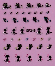 Cute beauty women  black cat  3D nail stickers Water Transfer nail art  low price
