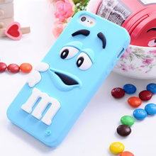 New Arrival 1 Piece Silicone 3D M&M Chocolate Beans Mobile Phone Case for iPhone 7 plus Cute Cartoon Smartphone Back Cover