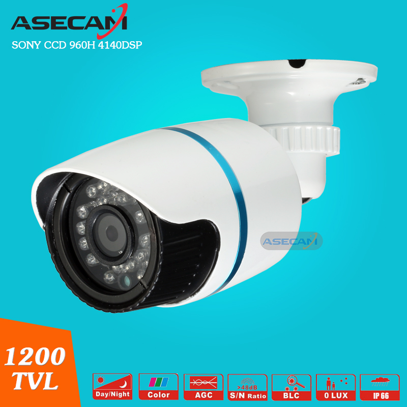Asecam New Sony CCD 960H Effio 1200TVL CCTV MINI  Bullet Analog Surveillance Outdoor Waterproof 24led infrared Security Camera <br>