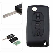 New 3 Button Flip Car Remote Locking Key Fob with Chip for Peugeot 207 307 Citroen Berlingo C2 C3 C4 Auto Key Shell Case Cover
