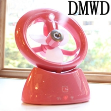 DMWD USB fan mini air conditioner refrigeration water spray humidifier office desktop rechargeable fan Spray humidification