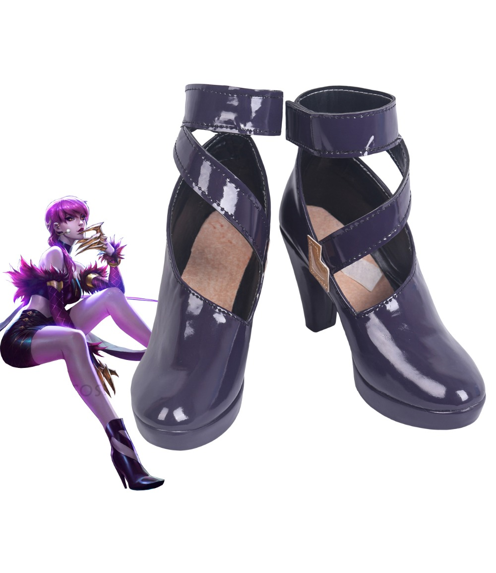 LOL KDA Evelynn Agony's Embrace Cosplay Boots Purple Shoes Custom Made