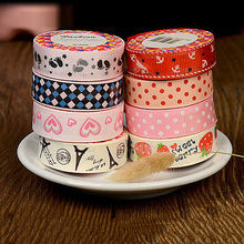 1 Roll 1.5 x 145 cm DIY Satin Ribbon Cartoon Heart dot Footprints tower Print Lace Decorative Tape Adhesive Tape Fabric Tapes