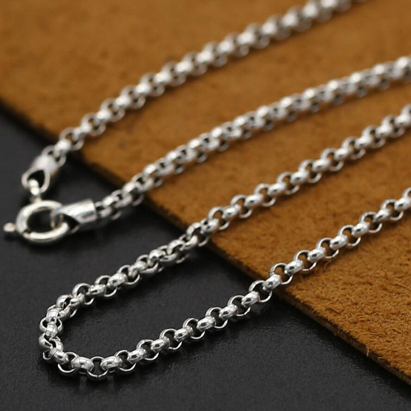 3mm classic Thai style silver chain 100% 925 sterling silver necklace women men silver fine vintage jewelry 2016 GN3