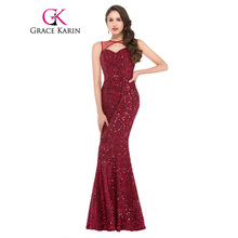Grace Karin Hollowed Out Front Red Sequined Mermaid Evening Dresses 2017 New Arrival Sleeveless Long Party Gowns Prom Dress