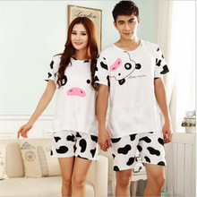 Summer hot Short-sleeved couple costume pajamas suit men and women leisure cows homewear Home clothing Fashion Slim nightclothes(China)