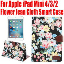 Smart Case For Apple iPad Mini 4 3 2 Flower Jean Cloth PU Leather Cover for iPad mini4 With Credit Card slots IM406(China)