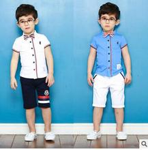 2017 summer children's clothing set British wind Shirts with tie Shorts Hip Hop Suit Popular boys Fashion brand Performance Wear