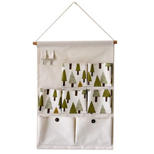 Tree Style Wall Door Storage Bags Cotton Fabric Hanging Storage Bag Container Wall Hang Bags Sundries Organizer 7 Pockets Girds