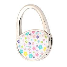 Oval Portable Table Foldable Purse Bag Hanger Handbag Hook Colorful Flower(China)