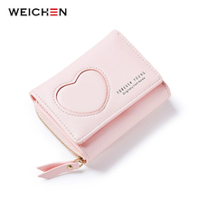 WEICHEN Brand Korean Fresh Short Women Wallets PU Leather Female Money Purse Girls Wallet with Coin Card Cash Photo Card Holder(China)