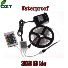 RGB LED Strip 5M 300Led 3528 SMD Waterproof 24Key IR Remote Controller 12V 2A Power Adapter Flexible Light Led Tape Lamps(China)