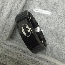 2016 Women Unisex Hot Titanium Boys Men Black Batman Symbol 316L Stainless Steel Polished Wedding Jewelry Ring 8MM Free shipping
