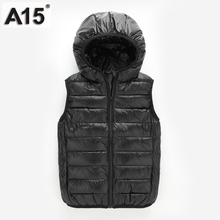 A15 Vest Kids Boy Waistcoats Children Vest 2017 Fall Winter Clothes Kids Outerwear Baby Girl Vest White Hooded Sleeveless Jacket(China)